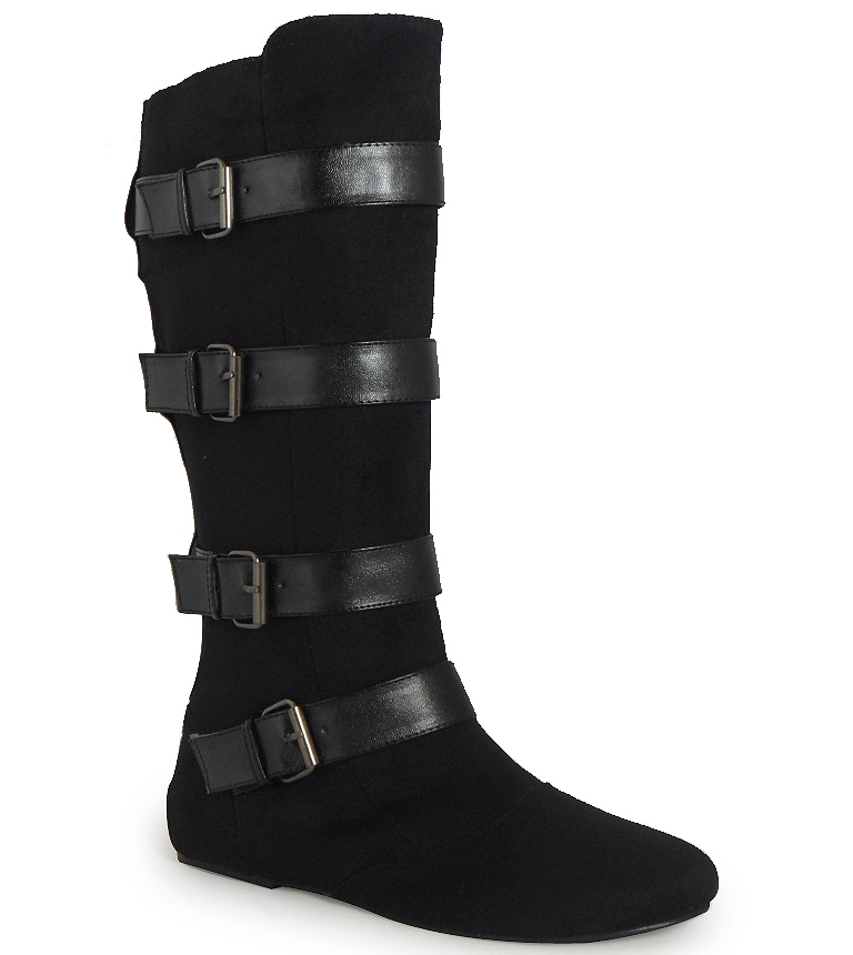 new womens black faux suede buckle mid calf pixie