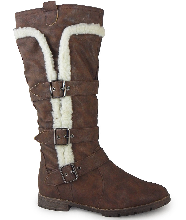 NEW WOMENS LADIES BROWN WINTER FASHION WORK ZIP CALF FAUX FUR SHOES BOOTS 3-8 | EBay