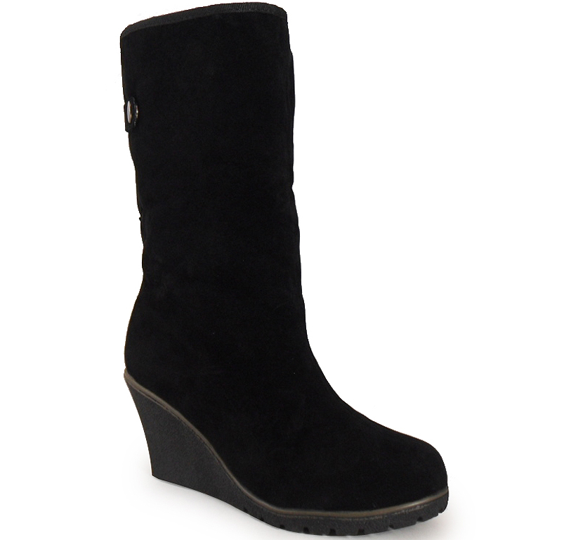 new womens black mid calf fur collar faux suede