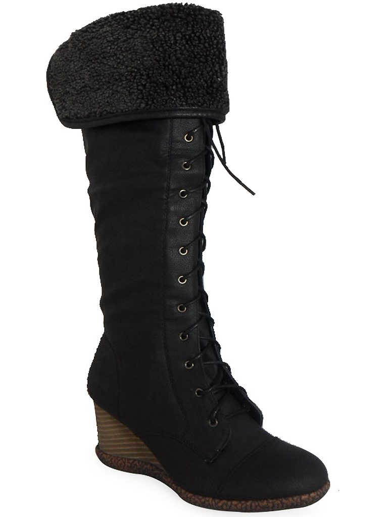 new womens black lace up fur collar knee high wedge