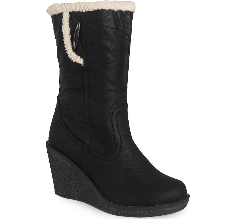 new womens black mid calf fur zip wedge winter