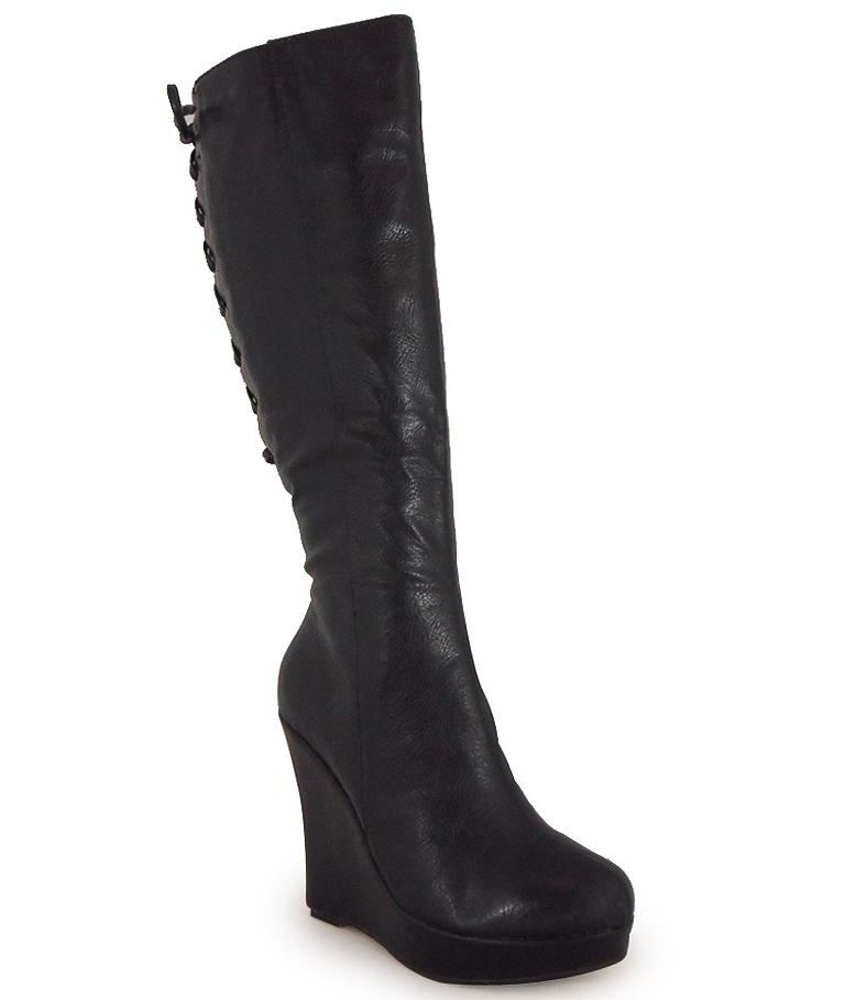 new womens black calf lace platform high wedge
