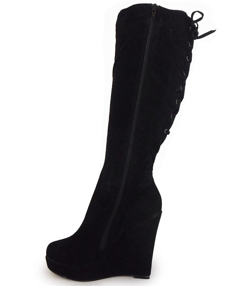 new womens black faux suede calf lace platform high