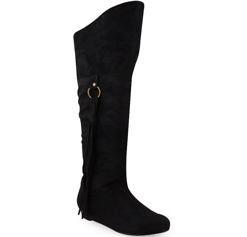 new womens black faux suede knee high low heel